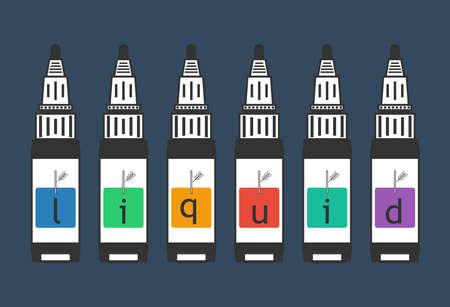 liquid for electronic cigarette color background vaping. Vector illustration of vape Illustration