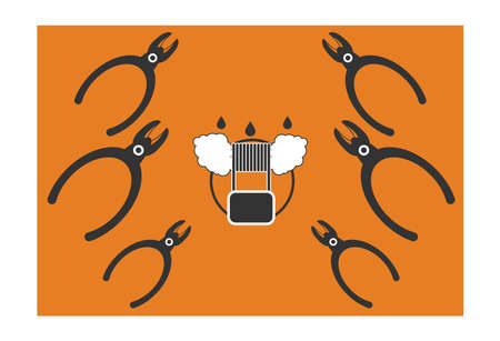 e liquid: Vector illustration of vape. pliers, wire cutters and wool