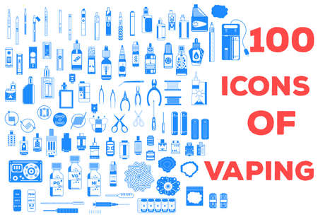 background e cigarette: Vape vector illustration of vaporizer and accessories Illustration
