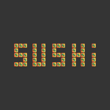 sushi text on dark background flat style. fast food. japanese cuisine