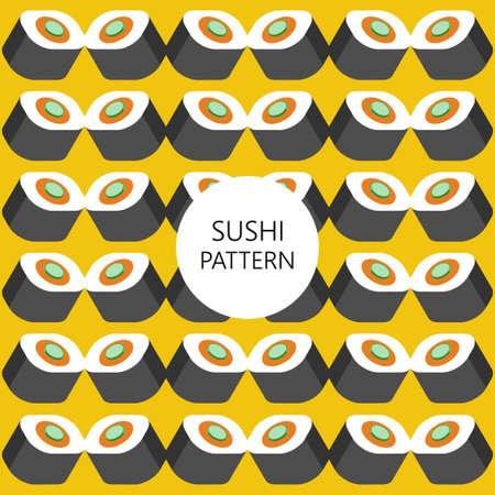 sushi pattern on color background flat style. fast food. japanese cuisine Illustration
