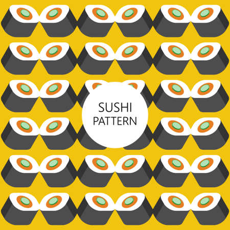 japanese cuisine: sushi pattern on color background flat style. fast food. japanese cuisine Illustration