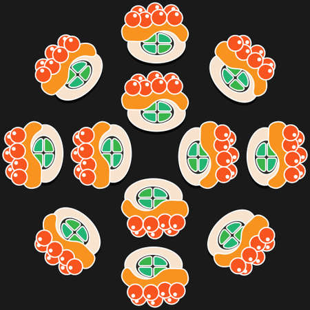 japanese cuisine: sushi pattern on dark background flat style. fast food. japanese cuisine