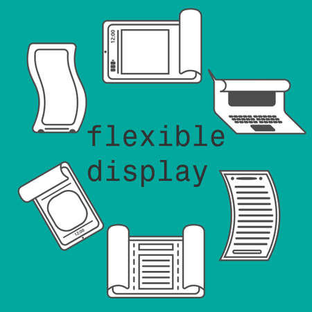 flexible: Flexible display icons smartphone flat style color background Illustration