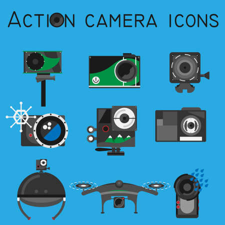 Action camera icons set on flat style color background