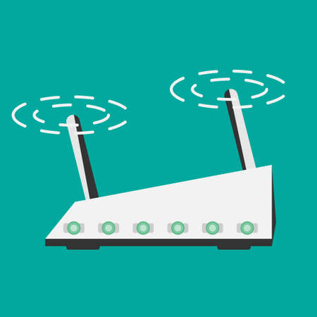 dsl: Wireless Router Isolated on blue background flat style