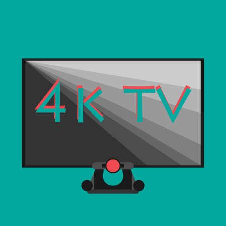 4k tv black on flat style color background smart