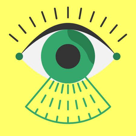 verifying: Biometrics eye being scanned before entry Illustration
