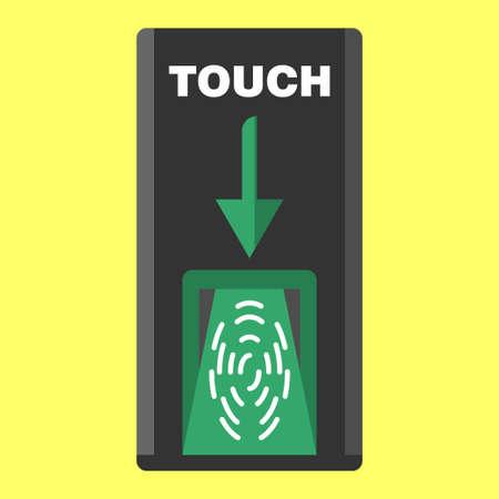 scaner: biometric finger scaner on flat style black colors