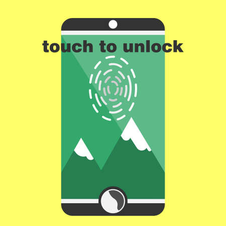 biometric fingerprint scaner on smartphone flat style black colors