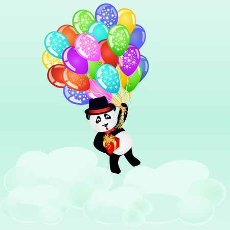 clouds cartoon: Cartoon panda flying with birthday balloons and gift above the clouds. Birthday background. vector illustration