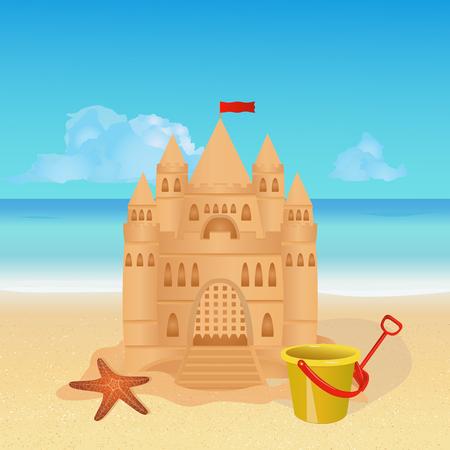 sandcastle: Sandcastle on tropical beach. Summer background. vector illustration