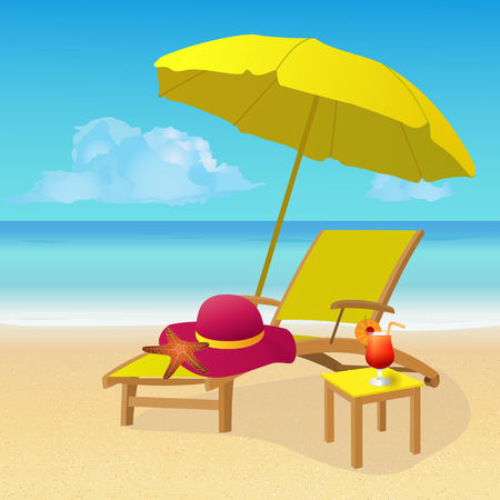 idyllic: Chaise lounge with umbrella on idyllic tropical sandy beach. Summer background. vector illustration Illustration
