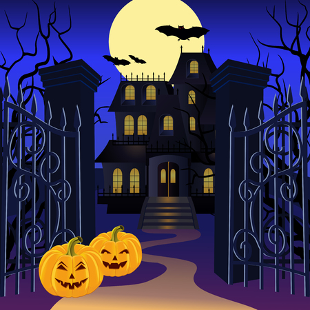 Halloween background with haunted house and pumpkin. Vector illustration