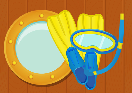 porthole: Diving equipment: flippers, scuba mask and snorkel with ship porthole on wooden texture. vector illustration
