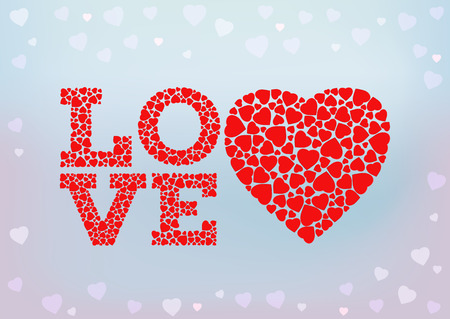 love wallpaper: Love inscription with heart symbol made of small heart shapes on blue soft background. Happy Valentines day, wedding, love. Greeting card and invitation design template. vector illustration.