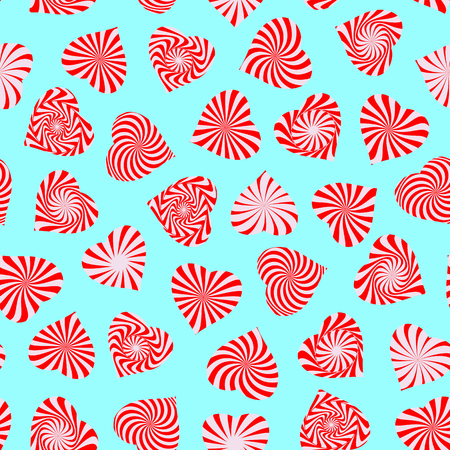 peppermint candy: Seamless pattern with peppermint candy stylized as heart symbol. Romantic wallpaper. Happy Valentines day, wedding, sweet love concept background.