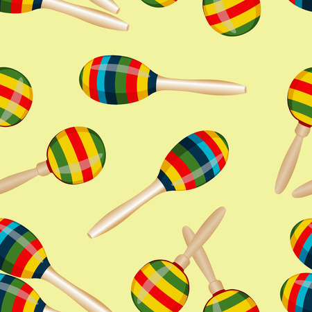 folksy: Seamless pattern with striped mexican maracas. Mariachi music wallpaper.