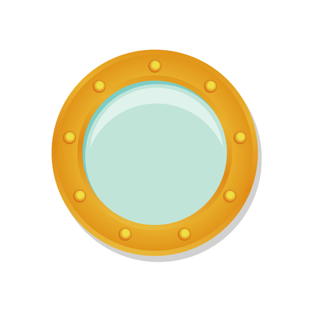illuminator: Ship porthole in cartoon style isolated on white background. Transparent shadow. Illustration