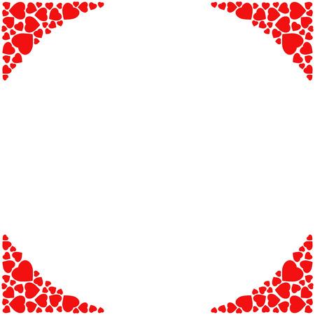 白い背景のロマンチックなコーナー枠。小さな赤いハートの装飾的なフレーム。結婚式、愛、バレンタインの招待状やグリーティング カードのテン  イラスト・ベクター素材