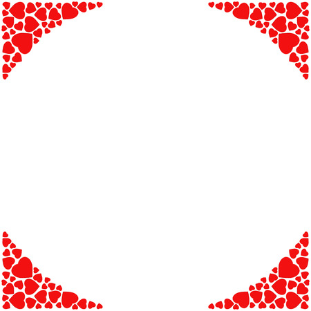 Romantic corner border on white background. Decorative frame with small red hearts. Template for wedding, love, Valentine's day invitation and greeting card. illustration 向量圖像