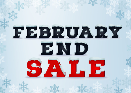end month: February end sale inscription design template in 3d style on blue background with snowflakes. Winter outlet, clearance, end of month sale concept. Snow cap text effect.