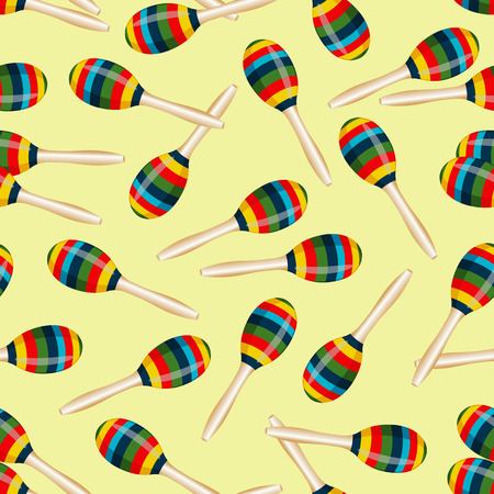 wallpaper  eps 10: Seamless pattern with striped mexican maracas. Mariachi music wallpaper. EPS 10 vector illustration
