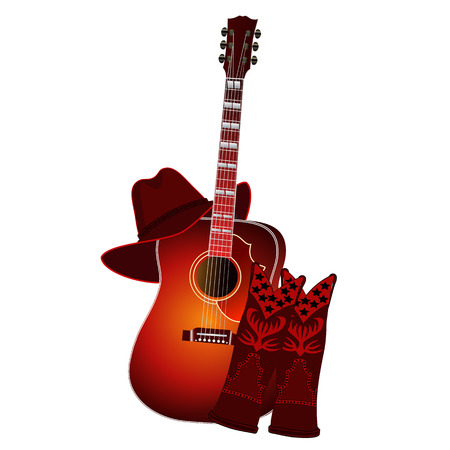 Set of acoustic guitar, cowboy boots and cowboy hat isolated on white background. Country music elements. Music background. Illustration