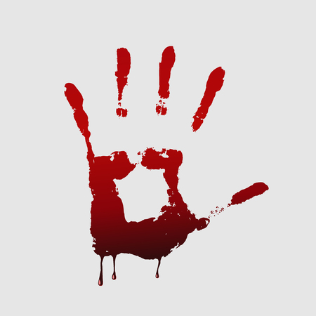 palm of hand: Close up of  bloody handprint on white background.