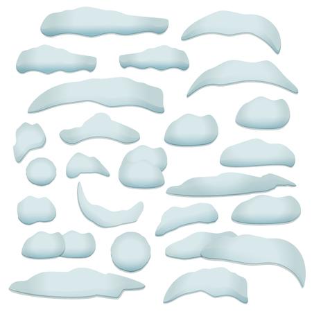 palle di neve: impostati neve elementi di design texture. protezione della neve, palla di neve, cumulo di neve con ombra trasparente. Vettoriali