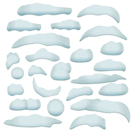 Snow texture design elements set. Snow cap, snowball, snowdrift with transparent shadow.