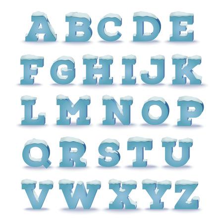눈 모자 효과 겨울 알파벳입니다. 투명 그림자