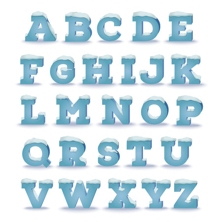 Winter alphabet with snow cap effect. transparent shadow