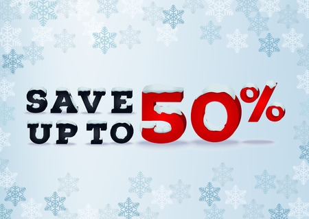 snow cap: Save up to fifty percent inscription design template in 3d style on blue background with snowflakes. Winter outlet, clearance, total sale concept. Snow cap text effect.