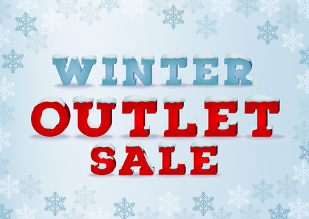 total: Winter outlet sale inscription design template in 3d style on blue background with snowflakes. Winter outlet, clearance, seasonal total sale concept. Snow cap text effect.