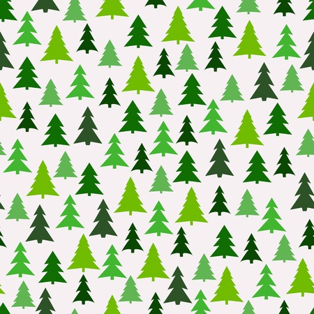 winter tree silhouette: Seamless pattern with green fir-trees. Illustration