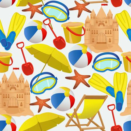 Seamless avec des accessoires de vacances d'été. activité de plage objets sur fond blanc. illustration Vecteurs