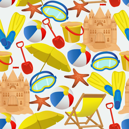 white beach: Seamless pattern with summer vacation accessories. Beach activity objects on white background. illustration Illustration