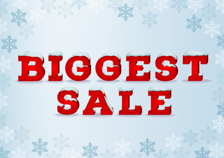 total: Biggest sale inscription design template in 3d style on blue background with snowflakes. Winter outlet, clearance, end of season, total sale concept. Snow cap text effect Illustration