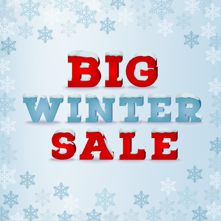snow cap: Big winter sale inscription design template in 3d style on blue background with snowflakes. Winter outlet, clearance, seasonal total sale concept. Snow cap text effect.
