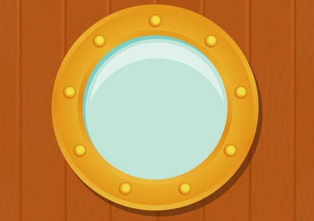 ship porthole: Ship porthole in cartoon style isolated on wooden texture. Transparent shadow. Illustration