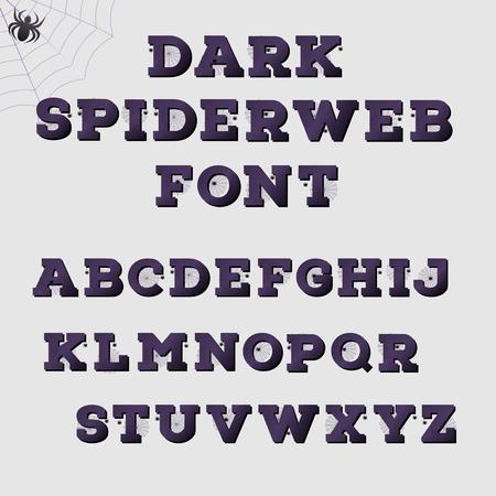 spiderweb: Dark spiderweb alphabet. Halloween concept.  Vector illustration