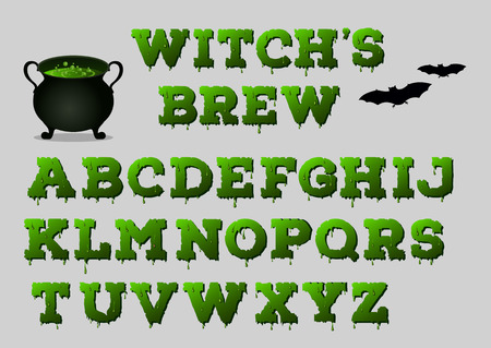 ooze: Witchs brew alphabet with cauldron for your design. Halloween concept. Vector illustration Illustration