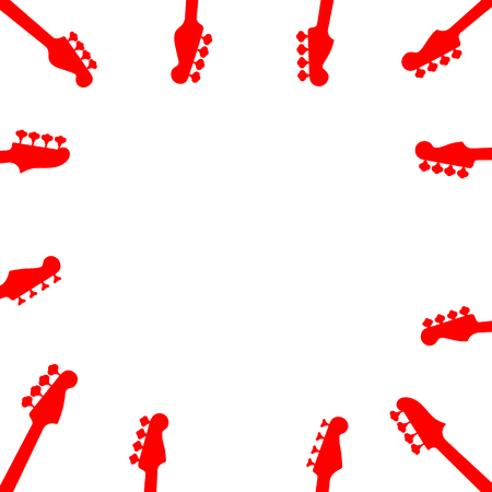 guitar neck: Music border with guitar headstock silhouette. Red color guitar neck pattern on white background. Simple musical frame. Vector illustration