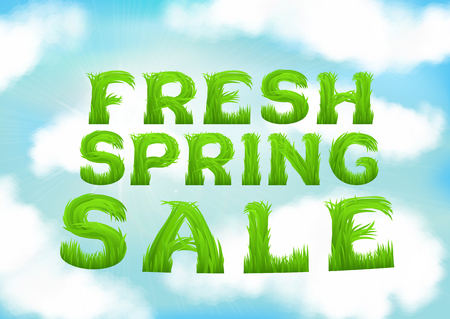 soft sell: Fresh spring sale inscription made of grass. White clouds on blue spring sky wallpaper. Natural blurred soft background. Spring outlet, clearance, seasonal sale concept. EPS10 vector illustration Illustration
