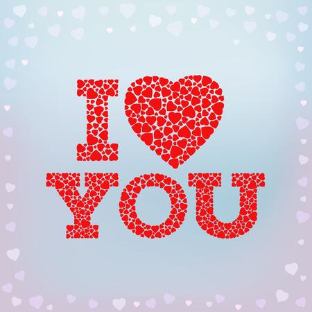 te amo: I Love you inscripci�n con el s�mbolo de coraz�n coraz�n de las formas peque�as en el fondo azul suave. d�a de San Valent�n, boda, amor tarjeta de felicitaci�n. ilustraci�n vectorial.