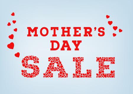 赤母の日販売碑文は青のソフト背景に小さなハートの形に成っています。幸せな母の日販売コンセプト。ベクトル図  イラスト・ベクター素材