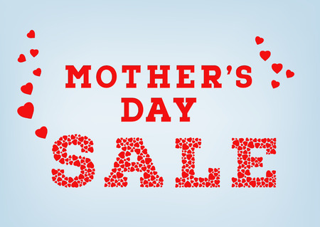Red Mother's Day sale inscription made of small heart shapes on blue soft background. Happy Mother's day sale concept. Vector illustration