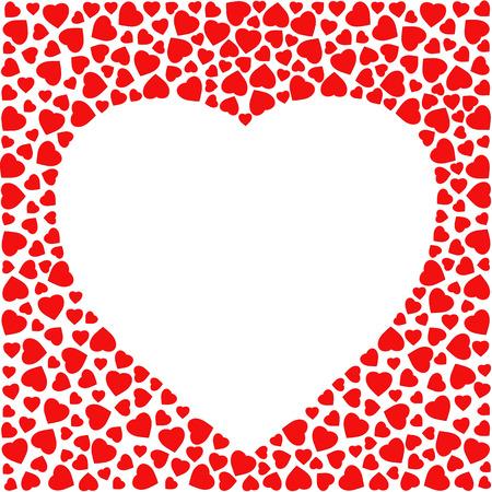 Border Mit Roten Herzen Auf Weißem Hintergrund. Grußkarte Design ...