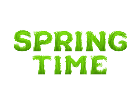 early: Spring time inscription made of grass isolated on white.  Early spring green grass font.  Vector illustration.